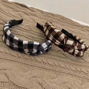 Gingham Check Knot Turban Headband set